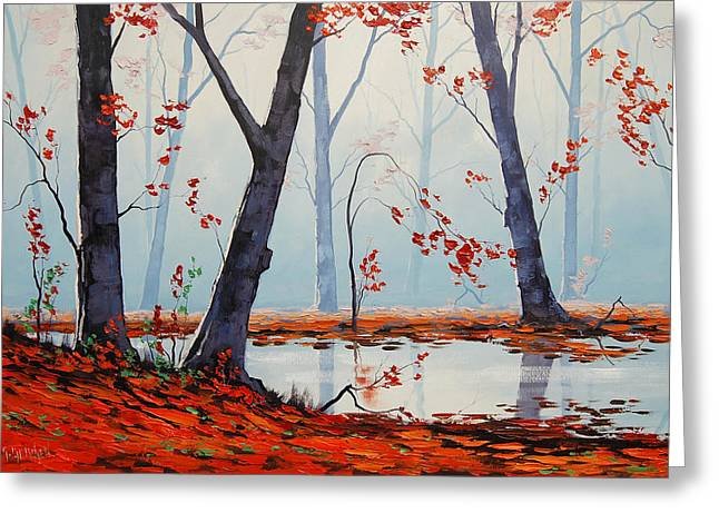 Calm Paintings Greeting Cards - Autumn River Painting Greeting Card by Graham Gercken