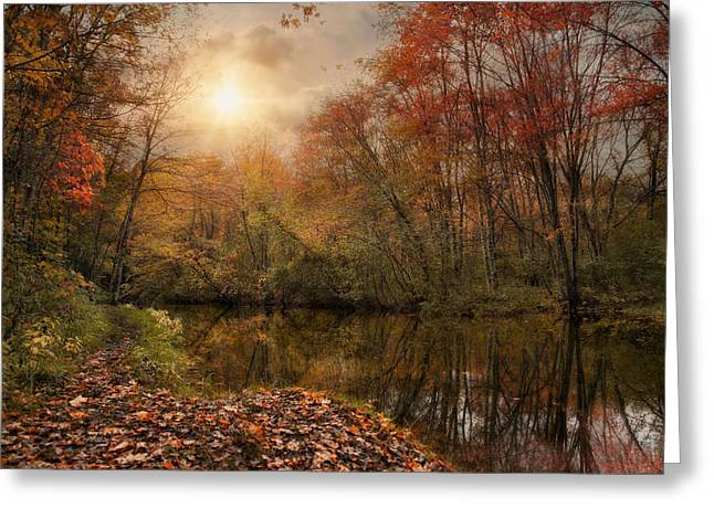 Blackstone River Greeting Cards - Autumn River Greeting Card by Robin-lee Vieira