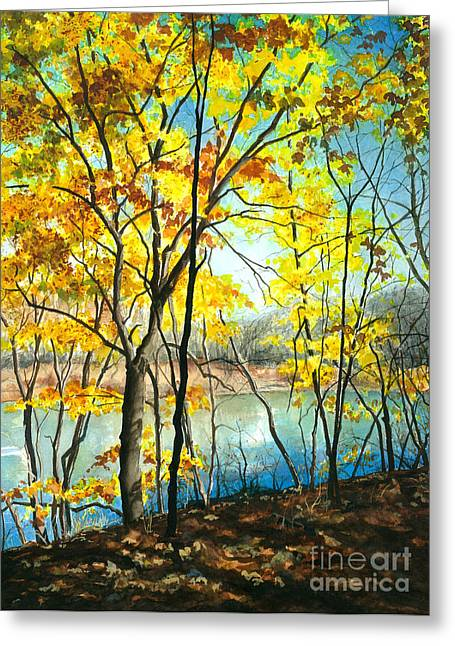 Pa Greeting Cards - Autumn River Walk Greeting Card by Barbara Jewell