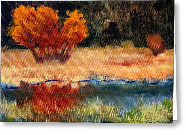 Wa Paintings Greeting Cards - Autumn Riverbank Greeting Card by Nancy Merkle