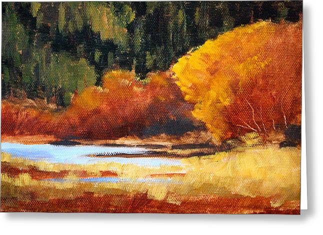Wa Paintings Greeting Cards - Autumn Riverside Greeting Card by Nancy Merkle