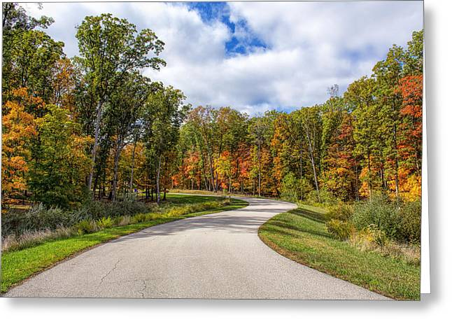 Autumn Scenes Digital Art Greeting Cards - Autumn Road Greeting Card by Bill Tiepelman