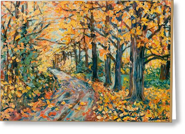 Autumn Road Greeting Card by Kendall Kessler