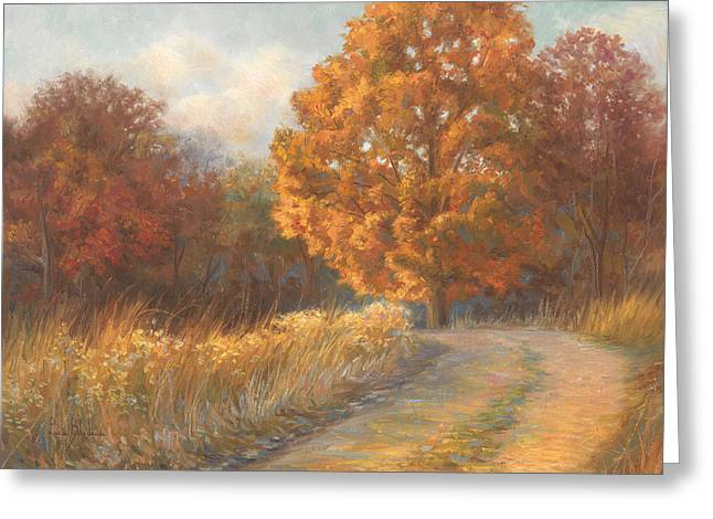 Autumn Landscape Paintings Greeting Cards - Autumn Road Greeting Card by Lucie Bilodeau