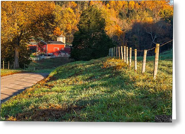 New England Farm Greeting Cards - Autumn Road Morning Greeting Card by Bill  Wakeley