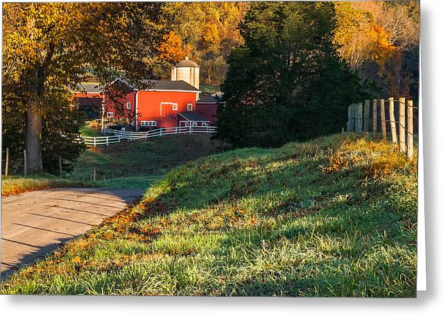 Old Country Roads Greeting Cards - Autumn Road Morning Square Greeting Card by Bill  Wakeley