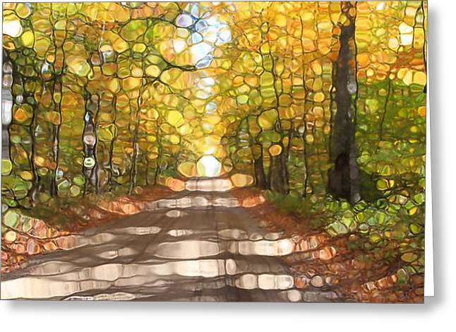 Country Dirt Roads Mixed Media Greeting Cards - Autumn Road Mosaic Greeting Card by Dan Sproul