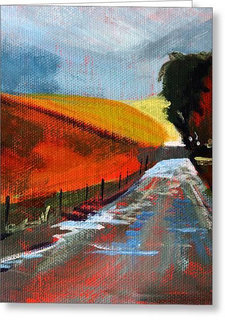 Mud Season Paintings Greeting Cards - Autumn Road Greeting Card by Nancy Merkle