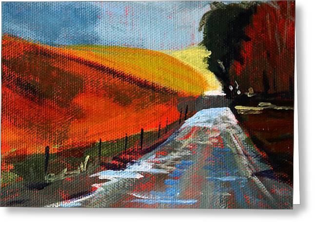 Mud Season Greeting Cards - Autumn Road Greeting Card by Nancy Merkle