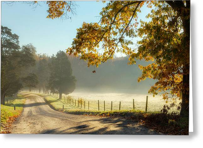 Southern New England Greeting Cards - Autumn Road Square Greeting Card by Bill  Wakeley