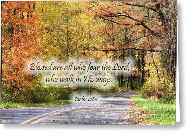 Roadway Greeting Cards - Autumn Road with Scripture Greeting Card by Jill Lang