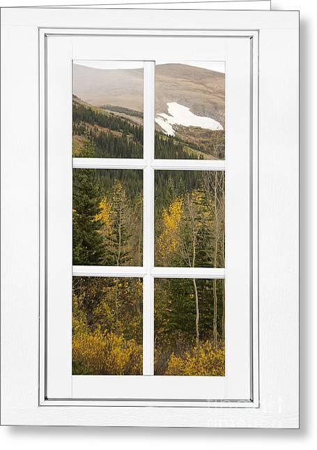 Room With A View Greeting Cards - Autumn Rocky Mountain Glacier View Through a White Window Frame  Greeting Card by James BO  Insogna
