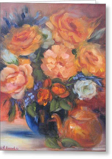 Tea Rose Greeting Cards - Autumn Roses Greeting Card by Karin  Leonard