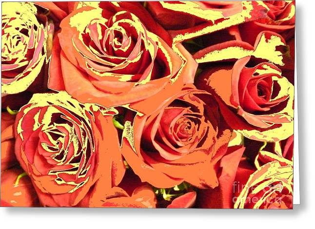 Autumn Roses On Your Wall Greeting Card by Joseph Baril