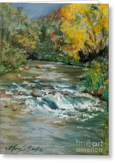 Moss Green Pastels Greeting Cards - Autumn Rush Greeting Card by Mary Benke