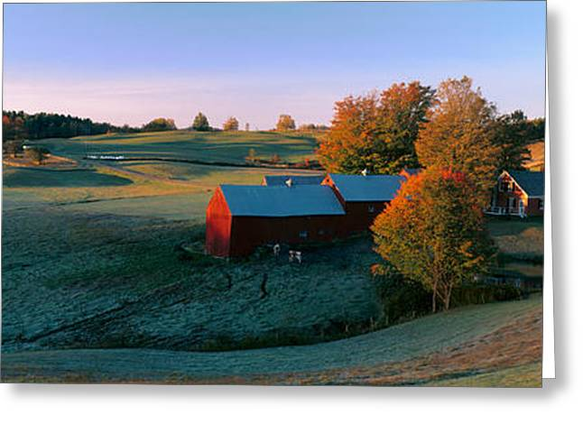 Vermont Photographs Greeting Cards - Autumn Scene Of Vermont Farm Greeting Card by Panoramic Images