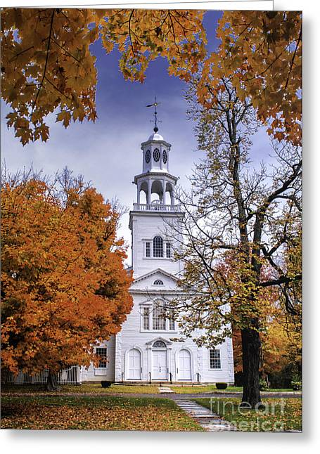Vermont Village Greeting Cards - Autumn Scenic from Old First Church of Bennington Vermont Greeting Card by Thomas Schoeller