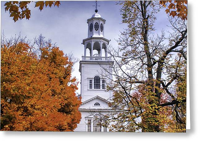 Autumn Scenic from Old First Church of Bennington Vermont Greeting Card by Thomas Schoeller