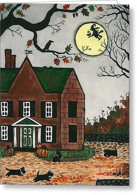 """haunted House"" Paintings Greeting Cards - Autumn Scotties Greeting Card by Margaryta Yermolayeva"