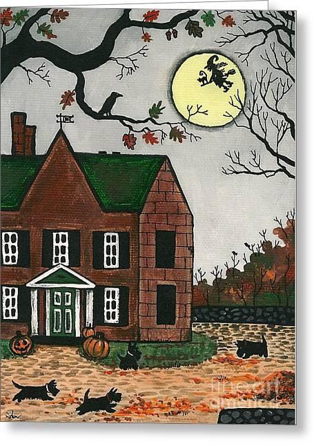 Doggies Greeting Cards - Autumn Scotties Greeting Card by Margaryta Yermolayeva