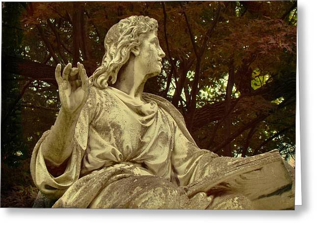 Autumn Graveyard Greeting Cards - Autumn Sculpture Greeting Card by Gothicolors Donna Snyder