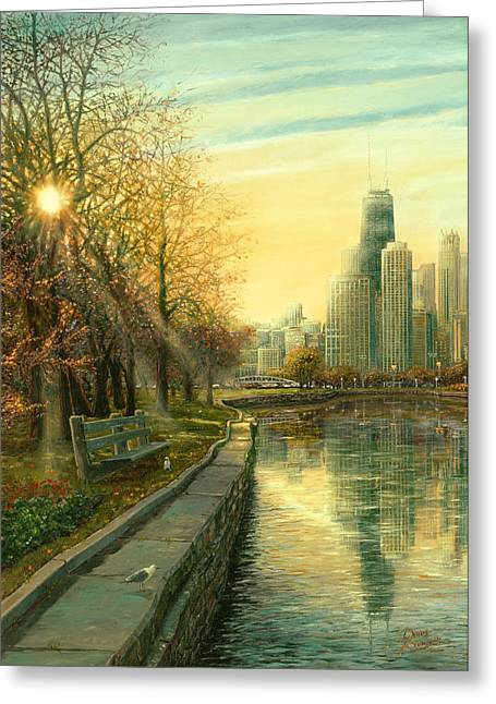 Chicago Digital Greeting Cards - Autumn Serenity II Greeting Card by Doug Kreuger