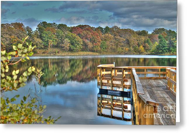Wood Pier Framed Prints Greeting Cards - Autumn Series 11 Greeting Card by Jimmy Ostgard