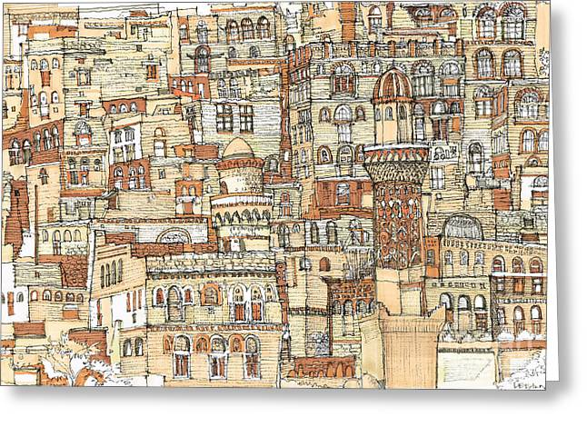 Detailed Ink Drawing Drawings Greeting Cards - Autumn shaded Arabian cityscape Greeting Card by Lee-Ann Adendorff