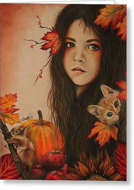Squirrel Drawings Greeting Cards - Autumn Greeting Card by Sheena Pike
