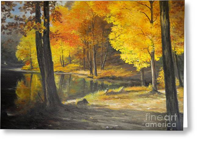 Landscape Posters Greeting Cards - Autumn Silence  Greeting Card by Sorin Apostolescu