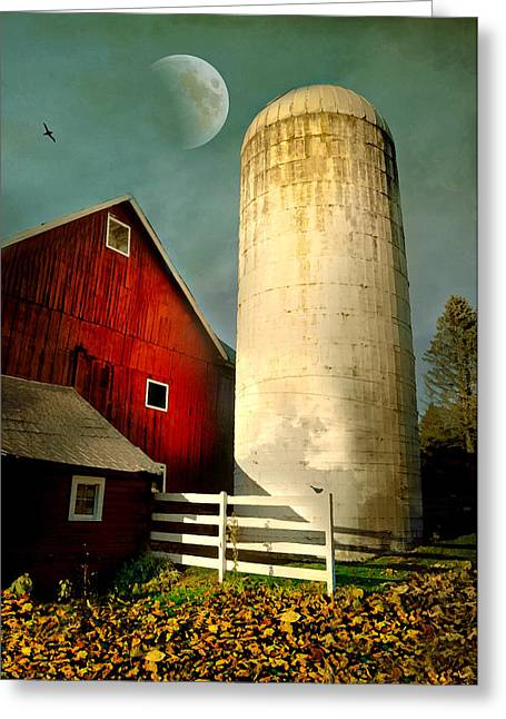 Horses With Nature Greeting Cards - Autumn Silo Greeting Card by Diana Angstadt