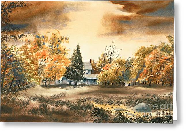 Pastoral Mixed Media Greeting Cards - Autumn Sky No W103 Greeting Card by Kip DeVore