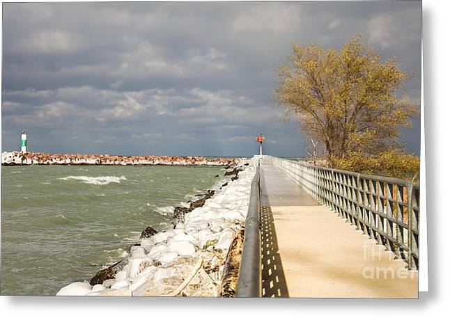 Indiana Autumn Greeting Cards - Autumn Sky over the Riverwalk Greeting Card by Lynne Dohner