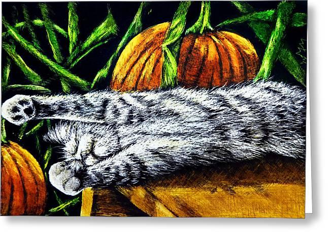 Slumber Drawings Greeting Cards - Autumn Slumber Greeting Card by Monique Morin Matson