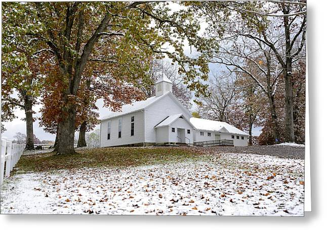 Autumn Snow And Country Church Greeting Card by Thomas R Fletcher