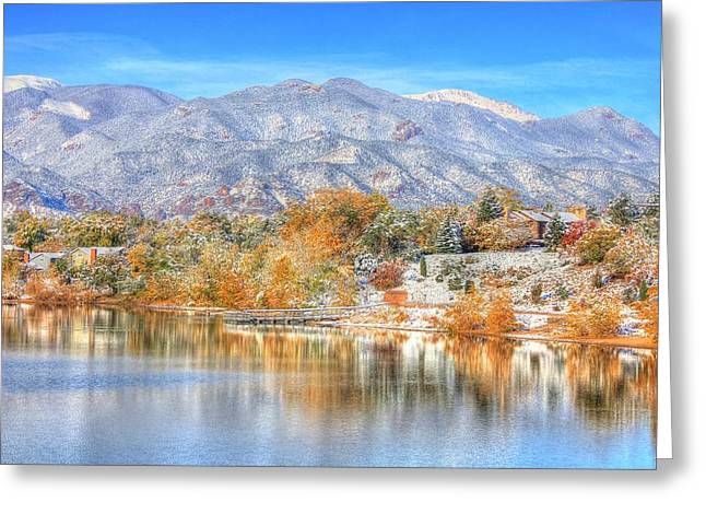 Trees Reflecting In Water Greeting Cards - Autumn Snow at the Lake Greeting Card by Diane Alexander