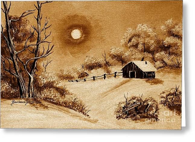 Snow-covered Landscape Digital Art Greeting Cards - Autumn Snow Greeting Card by Barbara Griffin