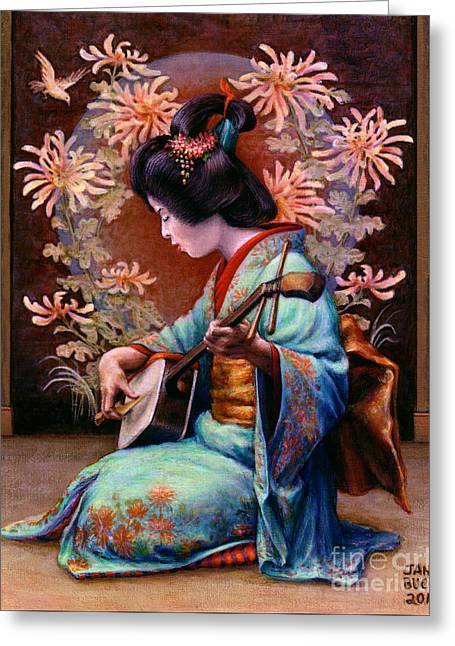 Geisha Greeting Cards - Autumn Song Greeting Card by Jane Bucci