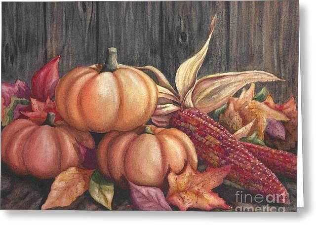 Harvest Deco Paintings Greeting Cards - Autumn Splendor Greeting Card by Conni  Reinecke