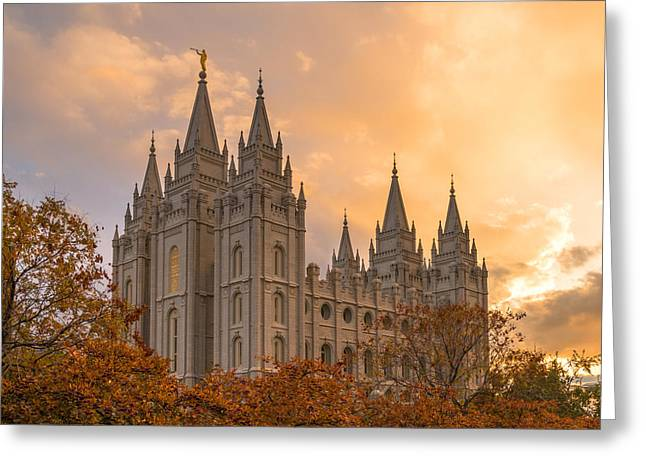 Utah Temples Greeting Cards - Autumn Splendor Greeting Card by Dustin  LeFevre