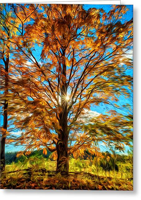 Back Roads Digital Art Greeting Cards - Autumn Star- Paint Greeting Card by Steve Harrington