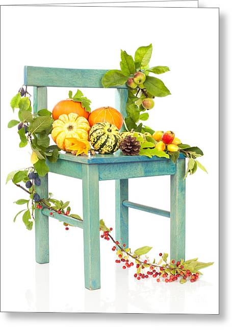 White Pumpkin Greeting Cards - Autumn Still Life Chair Greeting Card by Amanda And Christopher Elwell