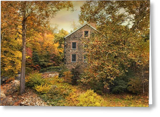 Mills Digital Greeting Cards - Autumn Stone Mill Greeting Card by Jessica Jenney