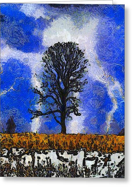 Thunderstorm Mixed Media Greeting Cards - Autumn Storm On The Farm Greeting Card by Dan Sproul