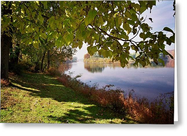 Peaceful Scene Greeting Cards - Autumn Stream Greeting Card by Allen Beatty