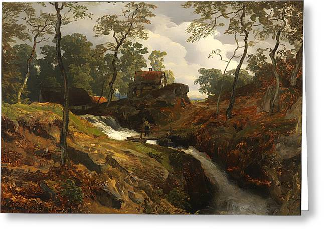 Fishing Creek Greeting Cards - Autumn Stream Greeting Card by Andreas Achenbach