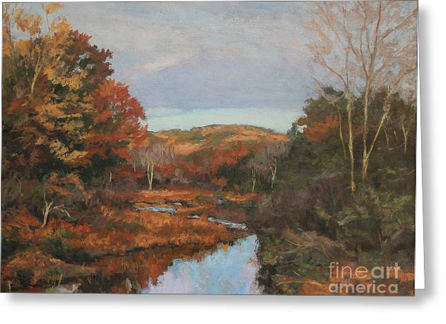 Gregory Arnett Paintings Greeting Cards - Autumn Stream Greeting Card by Gregory Arnett