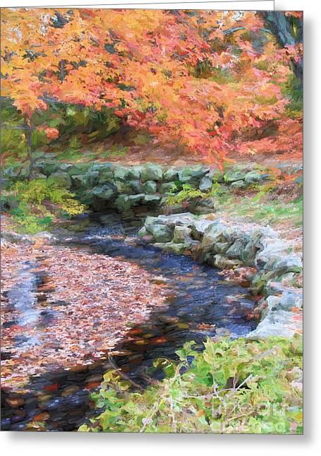 Sudbury Ma Digital Art Greeting Cards - Autumn Stream Greeting Card by Jayne Carney