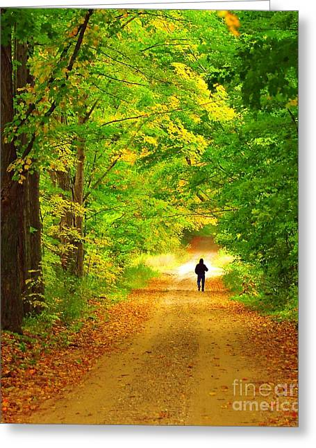 Fall Trees Greeting Cards - Autumn Stroll Greeting Card by Terri Gostola