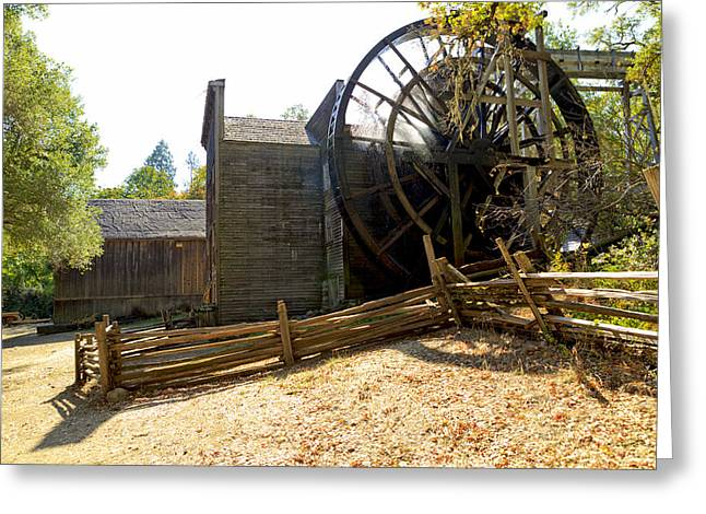 Bale Grist Mill Greeting Cards - Autumn Sun Shining On The Old Bale Mill Greeting Card by Patricia Sanders